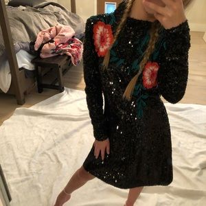 Black sequin dress with rose embroidery